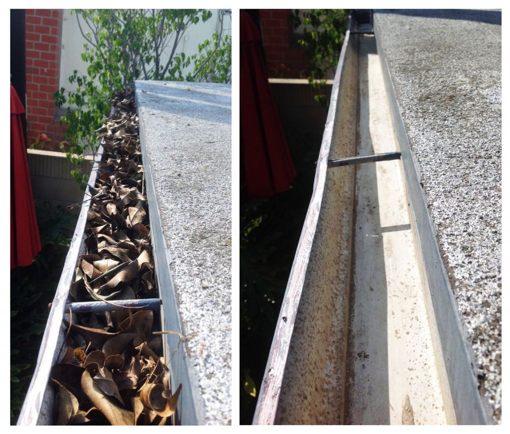 A gutter before and after cleaning.
