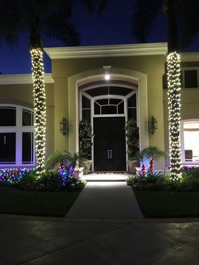 Christmas lights installed on a home in Newport Beach